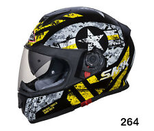 SMK Helmets -Twister-Captain Black Grey Yellow- Full Face Dual Visor Bike Helmet