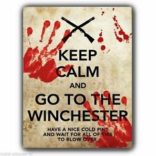 METAL SIGN WALL PLAQUE KEEP CALM AND GO TO THE WINCHESTER Shaun of the Dead