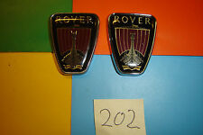 PAIR OF SMALL ROVER CHROME FRONT WING,REAR PILLAR SELF ADHESIVE BADGES EMBLEMS