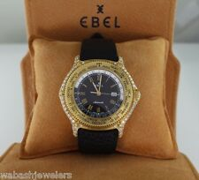 $13,500 Men Ebel 41mm Diamond 18K Yellow Gold Voyager Automatic World Time Watch