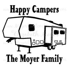 5th Fifth Wheel Camper Trailer Camping Decal Sticker YOU CHOOSE NAME & COLOR