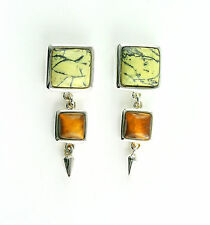 VINTAGE Sterling Silver Serpentine and Tiger's Eye Stud Earrings Free shipping