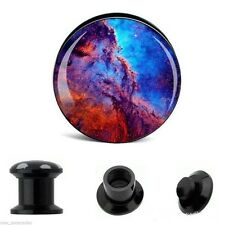 "PAIR-Outer Space Odyssey Acrylic Screw On Stash Plugs 25mm/1"" Gauge Body Jewelry"