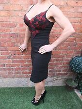 GORGEOUS BLACK & RED GOTHIC GOTH LACE BODYCON WIGGLE STRETCH DRESS ~ Size 10~12