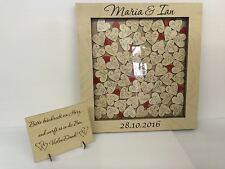 Personalised birch plywood red drop box wedding guest book 56 hearts gift