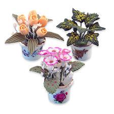 Reutter Porzellan Blumentöpfe Blumen Flowerpot Set Flowers Puppenstube 1:12