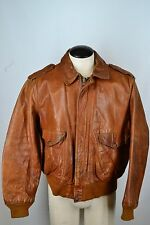 Schott Light Brown Leather Flight Bomber VTG Airforce Jacket Sz 46