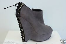 YSL Yves Saint Laurent Madge 105 Black Seppia Suede Wedge Ankle Boots 35.5 5.5
