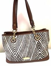 LIZ CLAIBORNE Black White Brown Zebra Animal Print Satchel Shoulder Travel Bag