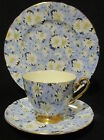 "Shelley Blue Daisy Chintz Trio - Ripon Cup and Saucer / Teacup and 8"" Plate"