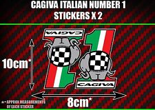 Cagiva italian number 1 Stickers x2 mito raptor supercity planet roadster sx t4