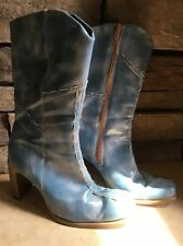 Baby Blue Cowboy Heel Boho Hippie Boots Size 38/8