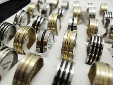15 X LOTS  GOLD SILVER BLACK ENAMEL STAINLESS STEEL RINGS WHOLESALE BULK LOTS