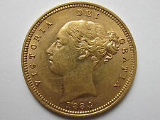 1884 M Gold Half Sovereign : Ext Rare Young Victoria Head  ** Unc