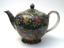 1930s ART DECO ROYAL WINTON GRIMWADES ENGLAND VICTORIAN BLACK CHINTZ TEAPOT