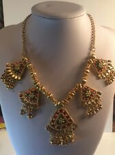 Gold Coloured Green And Red Necklace Costume Jewellery