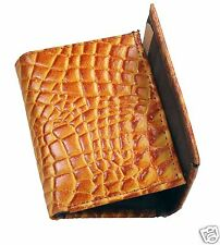 New Crocodile Alligator Print Mens Trifold Genuine Leather Wallet Pockets Tan