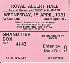 USED CONCERT TICKET STUB FOR THE 50TH ANNIVERSARY OF BBC AT THE ALBERT HALL 1981