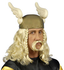 MENS LONG VIKING SAXON WARRIOR DWARF ASTERIX FANCY DRESS COSTUME WIG & TASH NEW