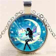 Fairy In Moon Photo Cabochon Glass Tibet Silver Chain Pendant Necklace#I81