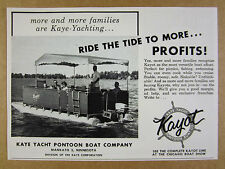 1958 Kaye Yacht KAYOT Pontoon Boats boat photo vintage print Ad