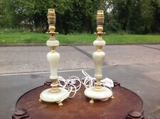 Vintage Pair Marble & Brass Paw Feet Bedside Table Lamps