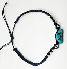 Beach Anklet Bracelet Turquoise Blue Moon Wooden Beads Macrame Waxed Cord