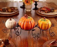 Halloween Thanksgiving Harvest 4 Piece Ceramic Pumpkin Centerpiece NEW