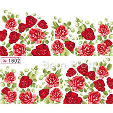 1Sheet Nail Art Water Decals Transfer Stickers Red Flower Floral Pattern Decor