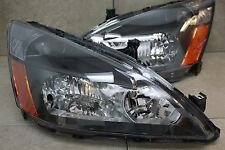 03-07 Honda Accord 2/4 Door 4cy V6 JDM Black Headlights Amber Reflector Inspire