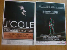 J Cole Scottish tour Glasgow concert gig posters x 2
