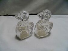 VINTAGE CLEAR PLASTIC DUCKS WITH BOWS SALT AND PEPPER SHAKERS -TAIWAN