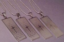 Christian Pendant Necklace LASER Etched OUR FATHER PRAYER Ball & Chain POLISHED
