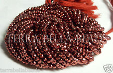 """13"""" metallic rose copper red coated PYRITE faceted rondelle beads 3.5mm- 4mm"""
