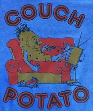 RaRe True Vintage 70s Couch Potato Television TV 50/50 Graphic Blue T-Shirt M