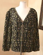 Adrianna Papell Silk Embroidered Sequin Beaded Evening Jacket 22W 22 Gold Black