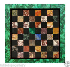2' Marble Dining Chess Table Top Playing Marquetry Malachite Mosaic Inlay Arts
