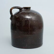 "Very Large Antique Pottery Stoneware Beehive Jug w/Handle Brown Glazed 11"" Tall"