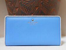 NWT Kate Spade COBBLE HILL STACY Pebble Leather Wallet Alice Blue New $128