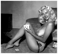 1960s Blonde Huge Breasted Nude Playing Cards sitting in floor 5 x 5 Photograph