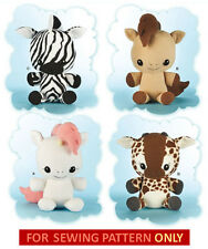 SEWING PATTERN! MAKE KIDS STUFFED TOYS! GIRAFFE~ZEBRA~UNICORN~HORSE KAWAII PLUSH
