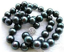 GENUINE NATURAL AAA+ TAHITIAN 9-10M BLACK PEARL NECKLACE 20 INCHES