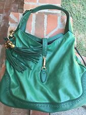 Gucci leather New Jackie hobo Bag. Green with tassels. From Saks.