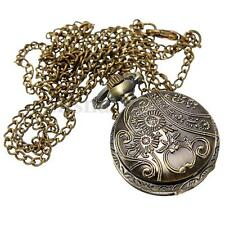 Bronze 12 Constellation Zodiac Steampunk Pendant Necklace Quartz Pocket Watch US