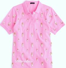 NWT J. Crew Pink Jeweled Embellished Collection Polo Shirt X-Large NWT