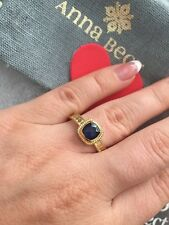 """Anna Beck ring """"Gili"""" Sapphire 18K Gold Plated Silver 925 Size- 7 NEW$250"""