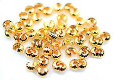 100 Corrugated Gold Plated Crimp Knot Bead Covers 4MM