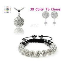 3set/lot white ball bead Crystal Shamballa set Necklace earring bracelet women