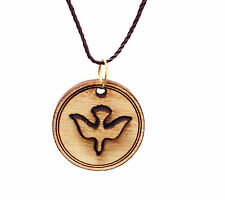 Dove Pendant with Necklace Hand Made laser Engraved Olive Wood From Holy Land