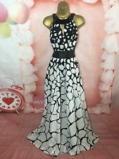 JULIEN MACDONALD BLACK/WHITE HOLIDAY MAXI FULL LENGTH DRESS SIZE 18-20 WEDDING